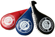 Kicking paddles come in 3 different colors (red, blue, black). Double clapper for louder sounds when kicked.