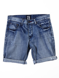 Worn-in denim shorts