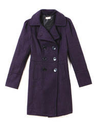 Plum woollen knit trench coat