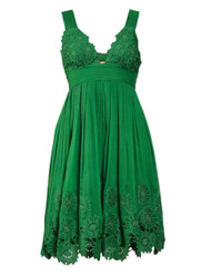Emerald cutt-out trim summer dress