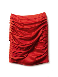 Rouge crepe mini skirt