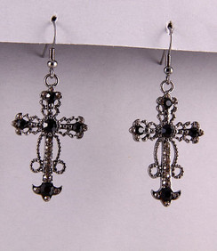 Earrings - Black Cross