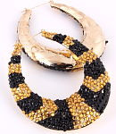 Hoop Earrings Blk/Gold