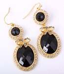 Hook Earrings - Black w/Rhinestones