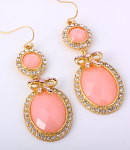 Hook Earrings - Pink w/Rhinestones