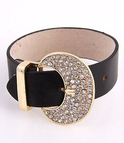 Leather Bracelet w/Rhinestones