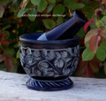 WITCH'S GARDEN Hand Carved Black Soapstone Mortar & Pestle