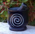 NIGHT SPIRAL Black Stone Mortar & Pestle