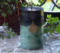 WITCH'S MAGIC MONEY Double Action Black Over Green Pillar Candle w/ Cash Drawing Witch's Coin