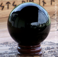 Black Crystal 80mm Ball w/ Wood Stand