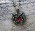 DRAGON HEART Bronze Double Faced Amulet Pendant Necklace