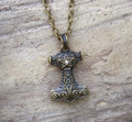 PENTACLE THOR'S HAMMER Mjölnir Double Faced Amulet Pendant Necklace