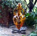 MAGICAL MASTERY Pentacle Burnished Amber Gold Amphora w/ Stand