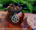 POWER CASTER Resin Gemstone Incense Honey Pot w/ Black Jet