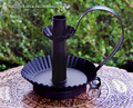 Primitive Black Metal Distressed Taper Chamber Candle Holder