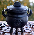 BLACK CAULDRON Pentacle Cast Iron Cauldron