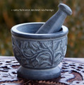 GRAY WITCH'S GARDEN Carved Soapstone Mortar & Pestle