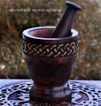 KELTEN Celtic Knot Carved Wood Mortar & Pestle