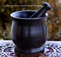 HEXE Witch's Black Cauldron Style Soapstone Mortar & Pestle
