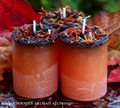 SAMHAIN SABBATICA Power of 13 Black Over Orange Pillar Votive Candles