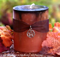 SAMHAIN SABBATICA Black Infused Burnt Orange Fusion Pillar Candle w/ Pentacle