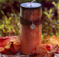 SAMHAIN SABBATICA Large Black Infused Burnt Orange Fusion Pillar Candle w/ Pentacle