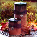 SAMHAIN SABBATICA Black Infused Burnt Orange Fusion Pillar Candle w/ Pentacle - Choose Candle Size