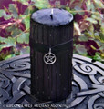 SALEM Old European Power Pentacle Black Velvet Pillar Candle w/ Dragon's Blood, 3x6