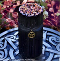 WITCHES POWER Black Pillar Candle w/ Bronze Pentacle, 3x6