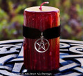 TRUE BLOOD Gothic Red Pillar Candle w/ Pentacle on Black Velvet