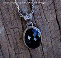 WITCHING HOUR Large Faceted Black Onyx Oval & Sterling Silver Pendant Necklace