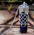 CELTIC WITCH Cobalt Blue Oil Bottle Pendant Necklace