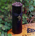 DRAGONS BLOOD Deep Burgundy Bronze Filigree Dragon Pillar Candle 3x9
