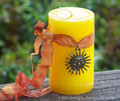 "RADIANT SUNFLOWER ""Sunspirit"" Bright Sunny Yellow Pillar Candle"