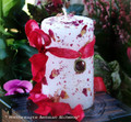 "HREDE Goddess of Victory ""Old Anglo-Saxon Witchcraft"" Rose Covered White Pillar Candle"