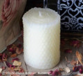 ELEGANT Small Ivory Beeswax Hand Poured Pillar Candle with Hand Rolled Look