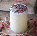 BLESSED Small Ivory Beeswax Hand Poured Pillar Candle w/ Hand Rolled Look