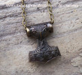 THOR'S HAMMER Mjölnir Antiqued Brass Double Faced Amulet Pendant Necklace