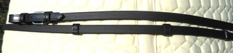 "Premium Black Biothane 1/2"" Reins w/ Leather Stops & Ends by Jerry's Harness"