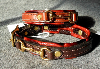 Leather Dog Collar w/Brass Snaffle Bit Embellishments
