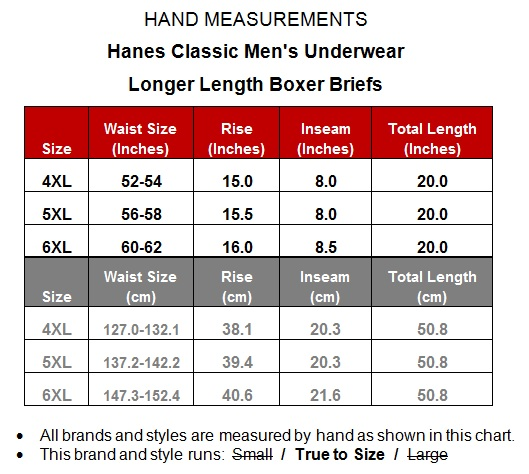 Big men s underwear long boxer briefs 6 pack by hanes ultimate