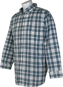 White-Blue Long Sleeve Plaid Shirt by Casual Country 3XL #261