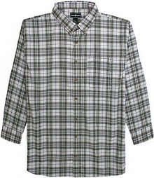 White-Gray Long Sleeve Plaid Shirt by Casual Country 3XL #563