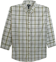 Light Green Long Sleeve Plaid Shirt by Casual Country 3XL #568
