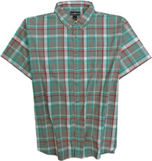 Gray-Green Short Sleeve Plaid Shirt by Casual Country 3XL #590