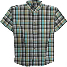 Black-Teal Short Sleeve Plaid Shirt by Casual Country 3XL #593