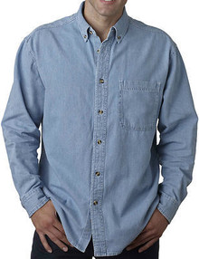 Big & Tall Men's UltraClub Cypress Denim Shirt, Light Blue, Full Image