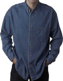 Big & Tall Men's UltraClub Cypress Denim Shirt, Dark Blue, Full Image