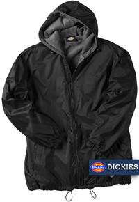 Big Men's Dickies Hooded Nylon Jacket Fleece Lined 2XL - 5XL Black