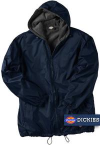 Big Men's Dickies Hooded Nylon Jacket Fleece Lined Navy